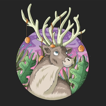 ジャングルのイラストで美しい鹿の角