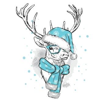 クリスマスの服と新年の美しい鹿