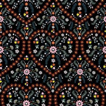 花のハート型、ファンタジーシームレスパターンベクトルデザイン、ファッション、ファブリック、テキスタイル、壁紙、カバー、ウェブ、ラッピング、黒のすべてのプリントのデザインを持つ美しい繊細な小さな花