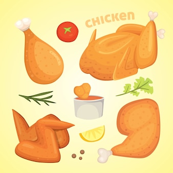 만화 스타일의 삽화의 아름다운 맛있는 프라이드 치킨 세트. 신선한 패스트 푸드 튀김 고기.