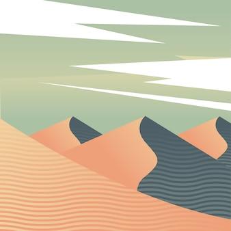 Красивая пустыня пейзаж панорама сцены векторные иллюстрации дизайн