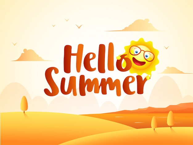 Beautiful desert landscape background with cartoon character of sun