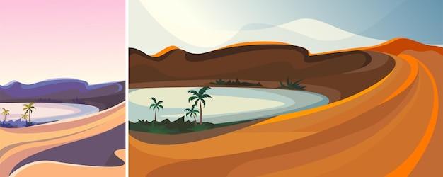아름다운 사막의 오아시스. 수직 및 수평 방향의 자연 풍경.