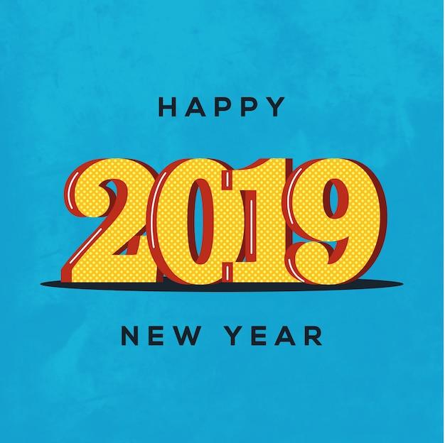 Красивый дизайн счастливого нового года 2019 на ярком фоне