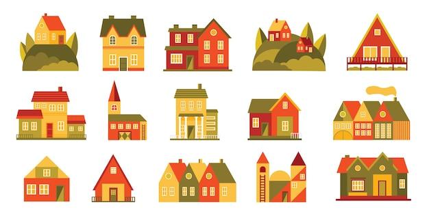 Красивый подробный веб-значок жилья и проживания с уютным небольшим гостевым домом в классическом дизайне с оконными ставнями из плюща и мансардой