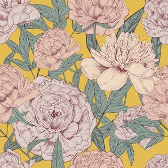 美しい詳細な牡丹のシームレスなパターン。手描きの花の花と葉