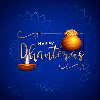 Beautiful dhanteras festival card with diya and kalash