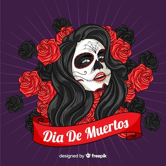 Beautiful dia de muertos skull background