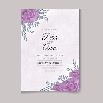 아름다운 디지털 손으로 그리는 여성스러운 수채화 프리미엄 꽃과 잎 청첩장