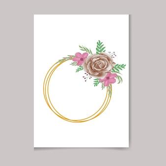 美しいデジタル手描きのフェミニンな水彩画プレミアム花柄フレームデザイン