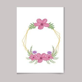 아름다운 디지털 손으로 그리는 여성스러운 수채화 프리미엄 꽃 프레임 디자인