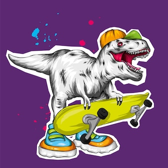 A beautiful dinosaur in a cap and with a skateboard, skater.