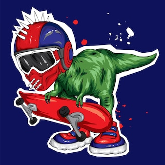 A beautiful dinosaur in a helmet and with a skateboard.