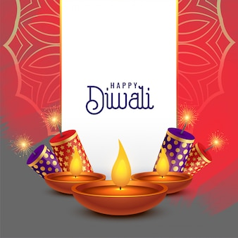 Beautiful diwali card design with crackers