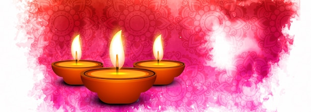 Красивые diwali diya масло лампа фестиваль заголовок фон