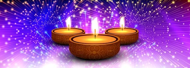 Beautiful diwali diya oil lamp festival header background