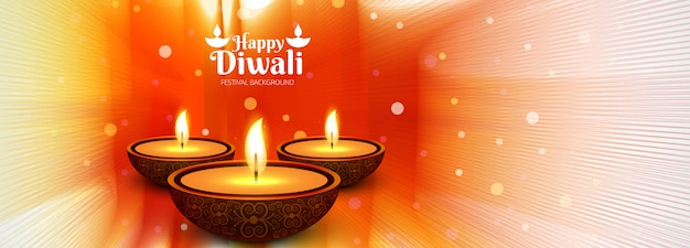 Beautiful diwali diya oil lamp festival header background