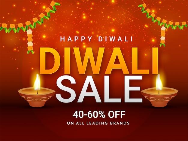 Beautiful diwali sale poster or banner design.