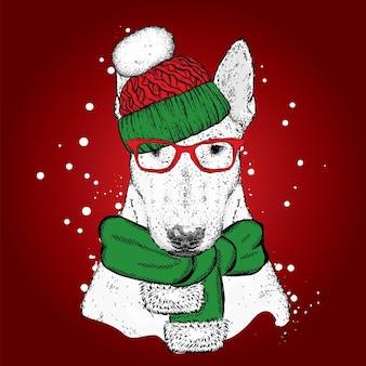クリスマスの服と新年の美しい犬