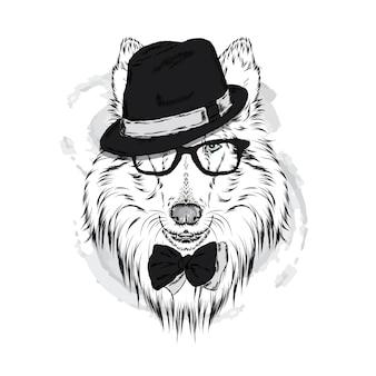세련 된 모자에 아름 다운 개