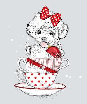 크리스마스 컵과 활과 아름 다운 개