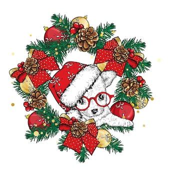 クリスマスの装飾と服を着た美しい犬