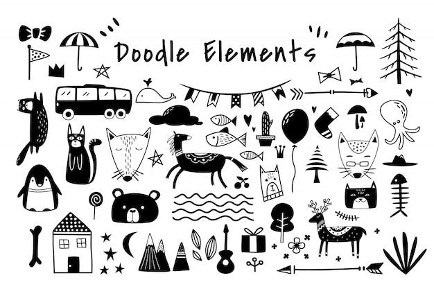 Beautiful doodle elements set