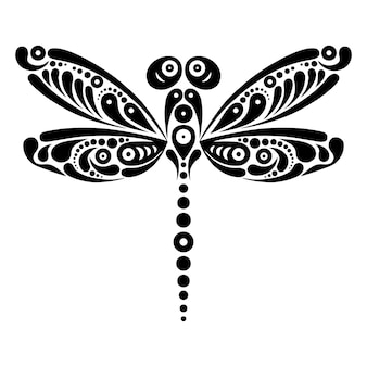 Красивая татуировка стрекоза. художественный узор в форме бабочки. черно-белая иллюстрация