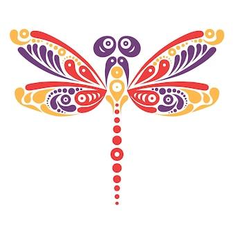 Красивая татуировка стрекоза. художественный узор в форме бабочки