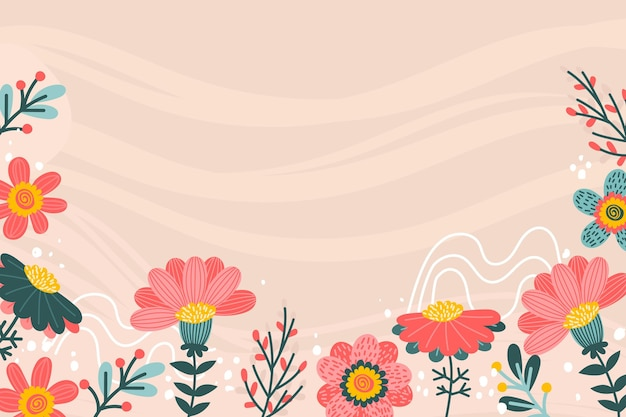 Beautiful drawn spring background with flowers