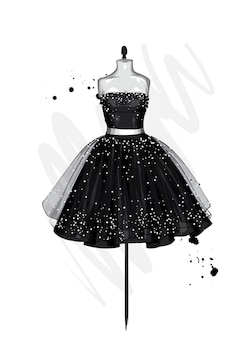 A beautiful dress with a lush skirt. clothes on a mannequin.