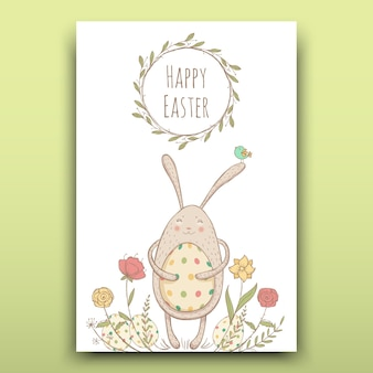 Beautiful easter card with painted easter bunny on a floral background