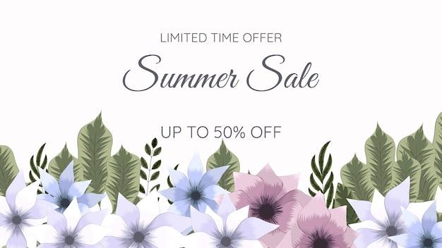 아름 다운 편집 가능한 꽃 프레임 여름 판매 배경 텍스트 템플릿