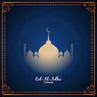 Beautiful eid-al-adha mubarak religious blue background