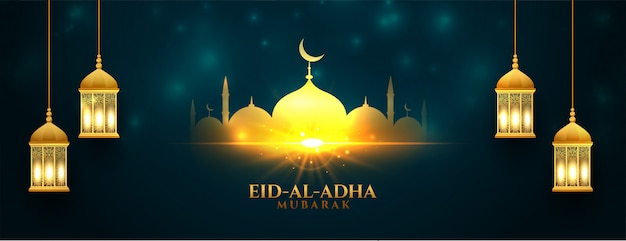 Beautiful eid al adha shiny bakrid festival banner