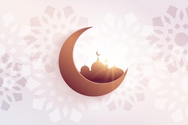 Красивое праздничное приветствие ид с мечетью и луной