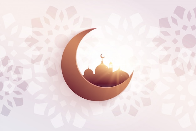 Beautiful eid festival greeting with mosque and moon