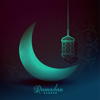 Beautiful eid moon and lantern light effect background