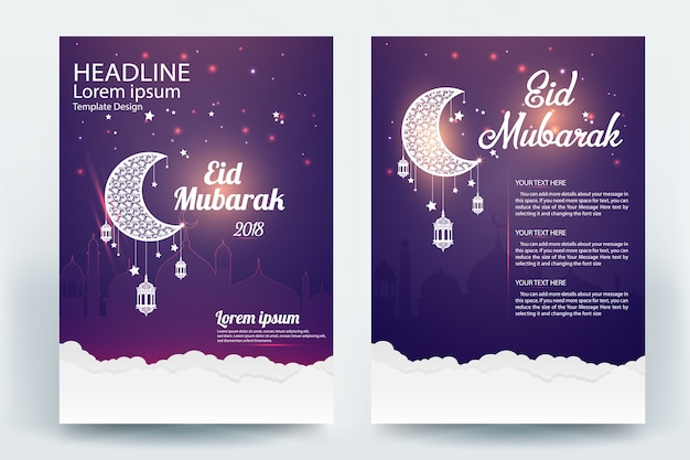 Beautiful eid mubarak flyer brochure vector template design