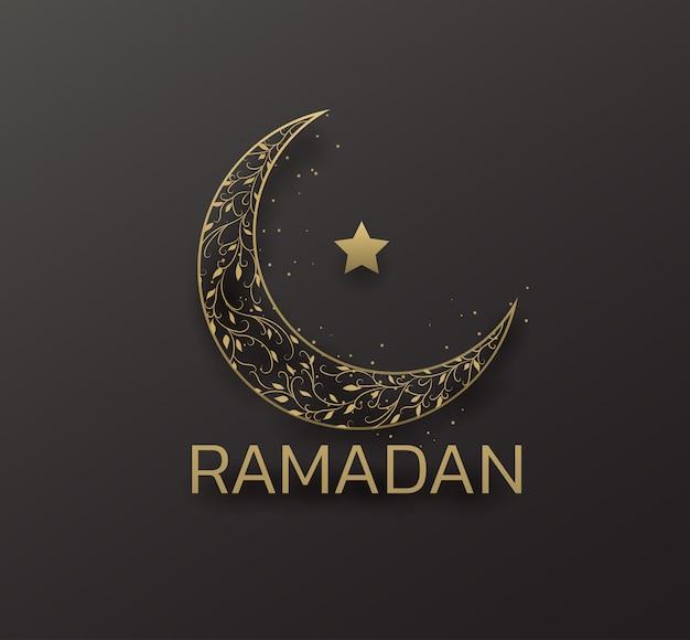 Beautiful eid mubarak golden decorative moon greeting.ramadan golden moon ant star on black background.premium