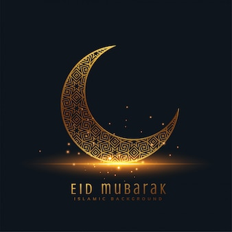 Beautiful eid mubarak golden decorative moon greeting