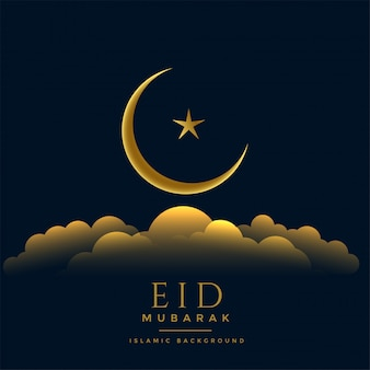 Beautiful eid mubarak golden moon star and clouds
