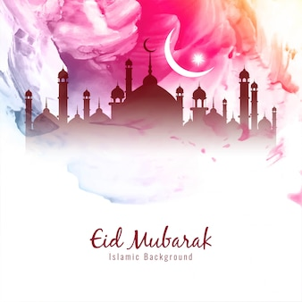 Beautiful eid mubarak islamic colorful