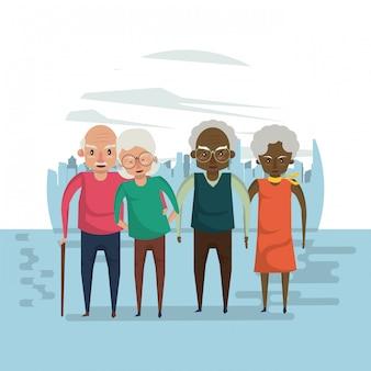 Beautiful elderly couples smiling cartoon