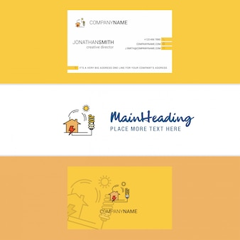 Beautiful electric power logo and business card. vertical
