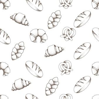 Beautiful elegant bakery bread seamless pattern editable template