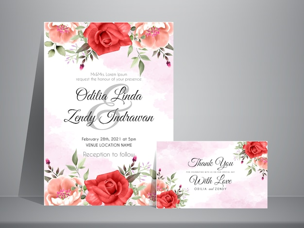 Beautiful and elegant design roses watercolor wedding invitation template