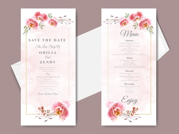 Beautiful and elegant floral hand drawn wedding invitation card templates