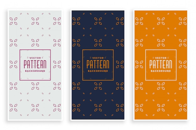 Beautiful elegant floral pattern banners set