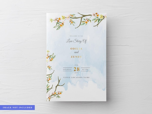 Beautiful and elegant floral watercolor wedding invitation card template